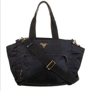 Black Tessuto Prada Vinyl Diaper Bag